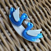 A  Two Little Ducks Brooch by Lea Stein Paris - Blue and Cream Birdies Pin